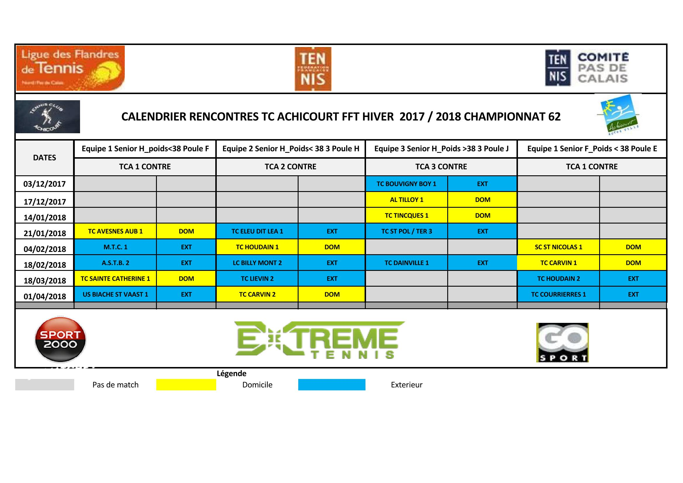 Calendrier Rencontres 2017 2018